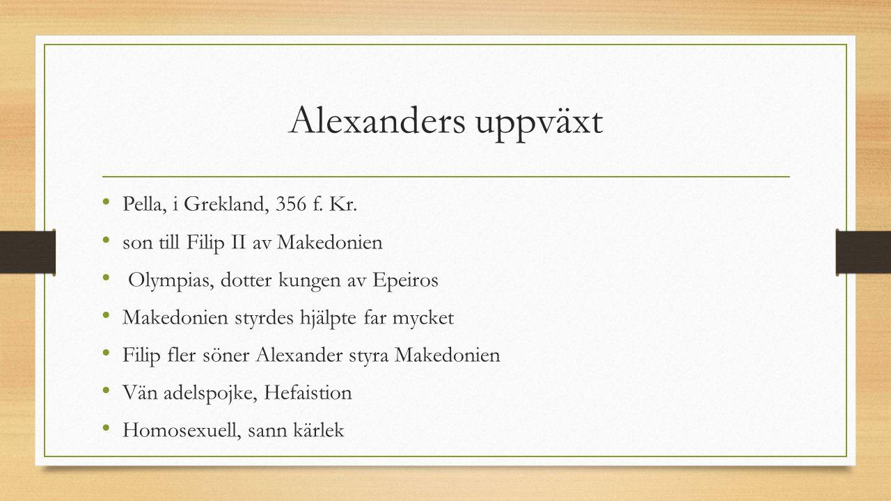 Alexanders uppväxt Pella, i Grekland, 356 f. Kr.