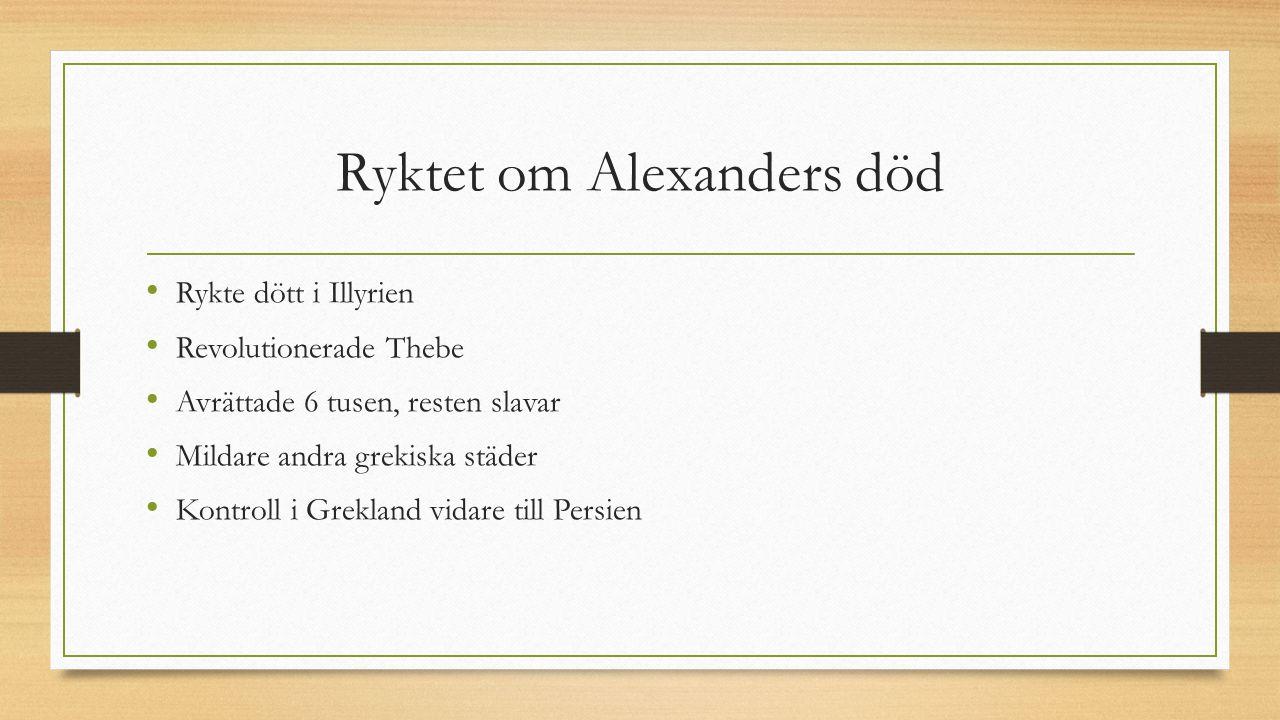 Ryktet om Alexanders död Rykte dött i Illyrien Revolutionerade Thebe Avrättade 6 tusen, resten slavar Mildare andra grekiska städer Kontroll i Grekland vidare till Persien