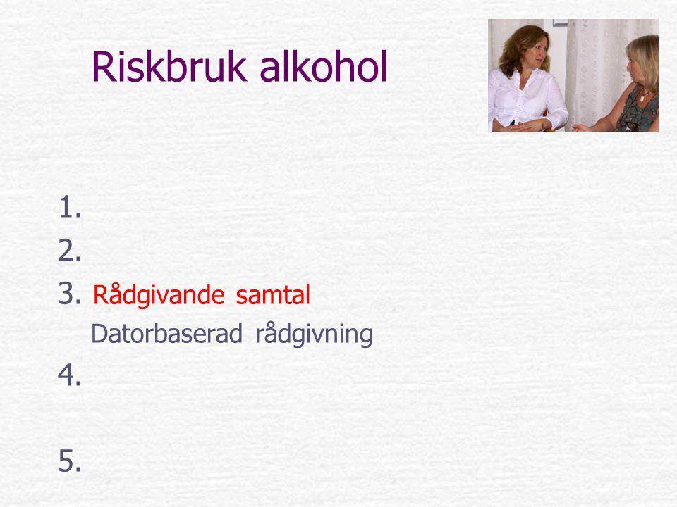 Riskbruk alkohol 1. 2. 3. Rådgivande samtal Datorbaserad rådgivning 4. 5.