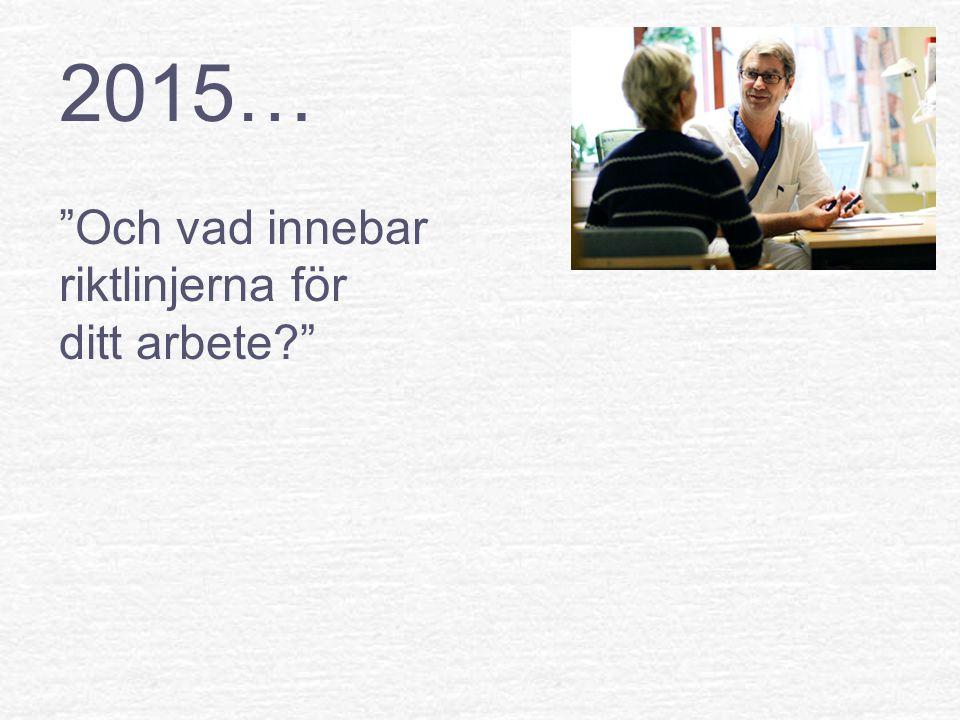 2015… Och vad innebar riktlinjerna för ditt arbete