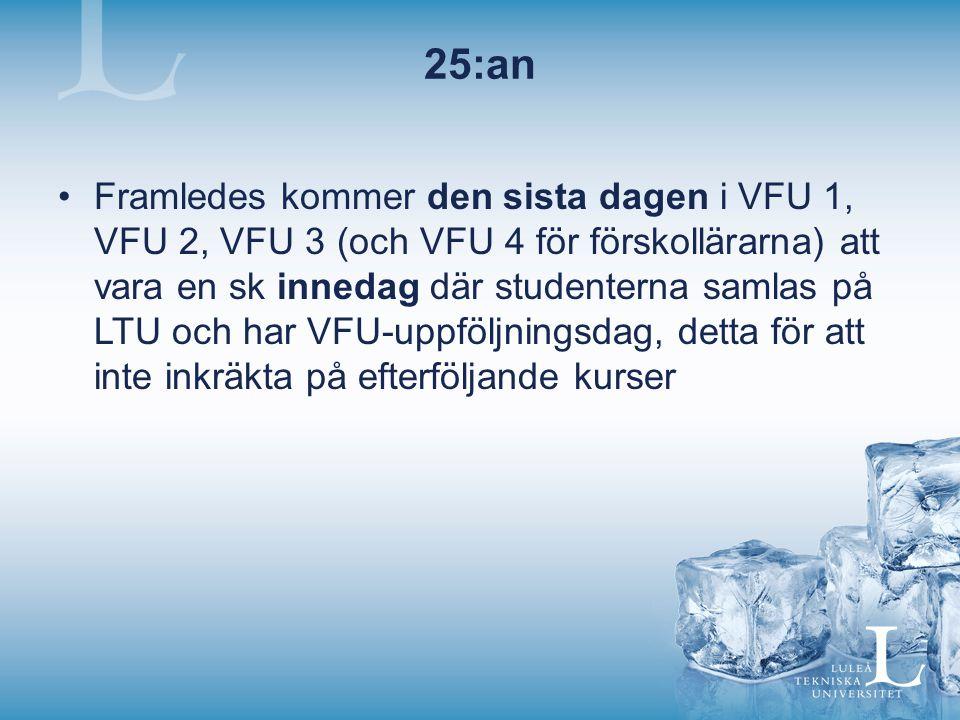 25:an Framledes kommer den sista dagen i VFU 1, VFU 2, VFU 3 (och VFU 4 för förskollärarna) att vara en sk innedag där studenterna samlas på LTU och har VFU-uppföljningsdag, detta för att inte inkräkta på efterföljande kurser