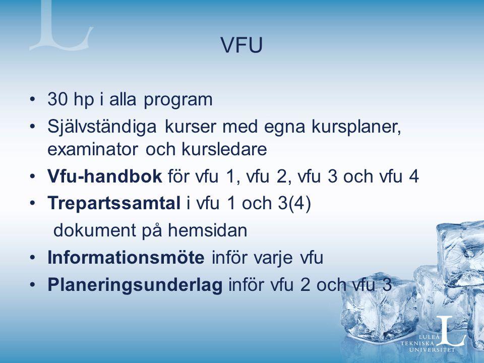 VFU 30 hp i alla program Självständiga kurser med egna kursplaner, examinator och kursledare Vfu-handbok för vfu 1, vfu 2, vfu 3 och vfu 4 Trepartssamtal i vfu 1 och 3(4) dokument på hemsidan Informationsmöte inför varje vfu Planeringsunderlag inför vfu 2 och vfu 3
