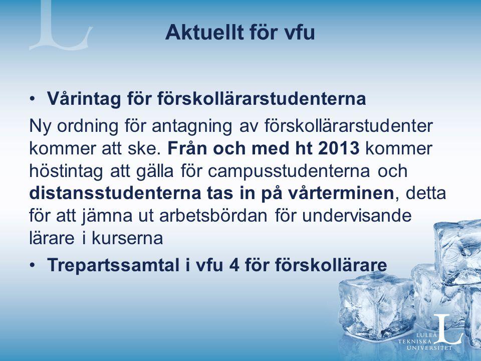 Aktuellt för vfu Vårintag för förskollärarstudenterna Ny ordning för antagning av förskollärarstudenter kommer att ske.