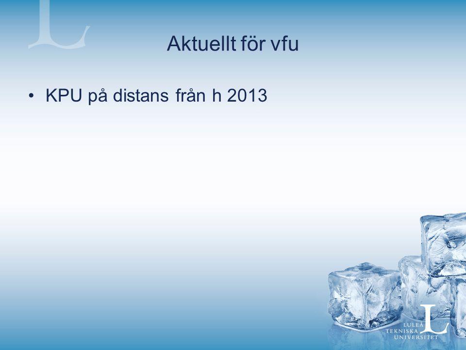 Aktuellt för vfu KPU på distans från h 2013