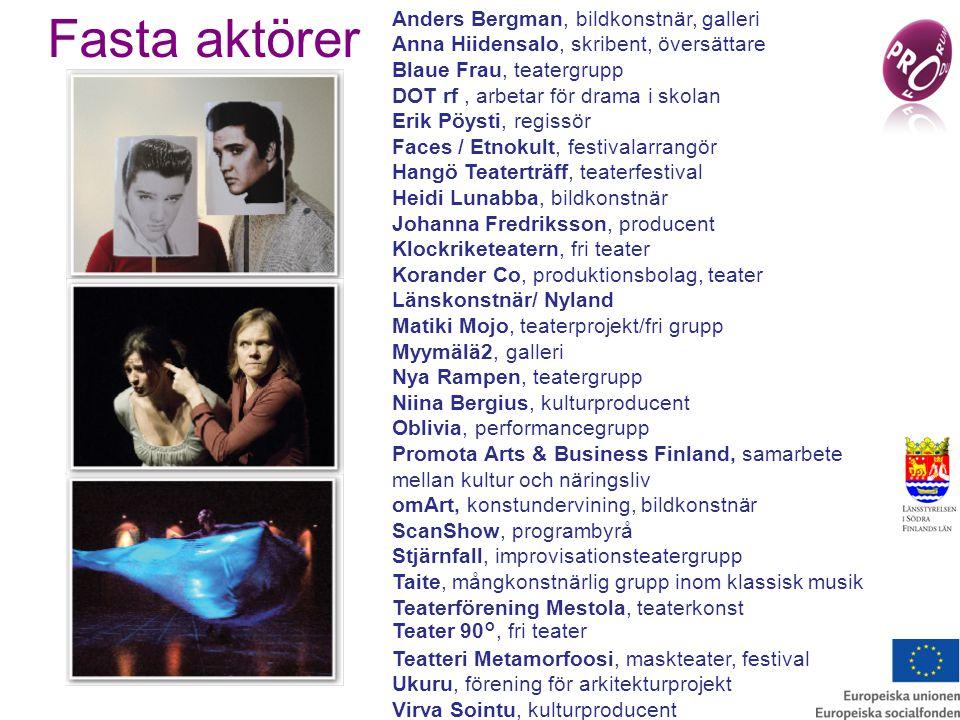 Fasta aktörer Anders Bergman, bildkonstnär, galleri Anna Hiidensalo, skribent, översättare Blaue Frau, teatergrupp DOT rf, arbetar för drama i skolan Erik Pöysti, regissör Faces / Etnokult, festivalarrangör Hangö Teaterträff, teaterfestival Heidi Lunabba, bildkonstnär Johanna Fredriksson, producent Klockriketeatern, fri teater Korander Co, produktionsbolag, teater Länskonstnär/ Nyland Matiki Mojo, teaterprojekt/fri grupp Myymälä2, galleri Nya Rampen, teatergrupp Niina Bergius, kulturproducent Oblivia, performancegrupp Promota Arts & Business Finland, samarbete mellan kultur och näringsliv omArt, konstundervining, bildkonstnär ScanShow, programbyrå Stjärnfall, improvisationsteatergrupp Taite, mångkonstnärlig grupp inom klassisk musik Teaterförening Mestola, teaterkonst Teater 90°, fri teater Teatteri Metamorfoosi, maskteater, festival Ukuru, förening för arkitekturprojekt Virva Sointu, kulturproducent