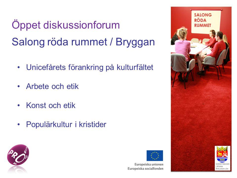 Öppet diskussionforum Salong röda rummet / Bryggan Unicefårets förankring på kulturfältet Arbete och etik Konst och etik Populärkultur i kristider