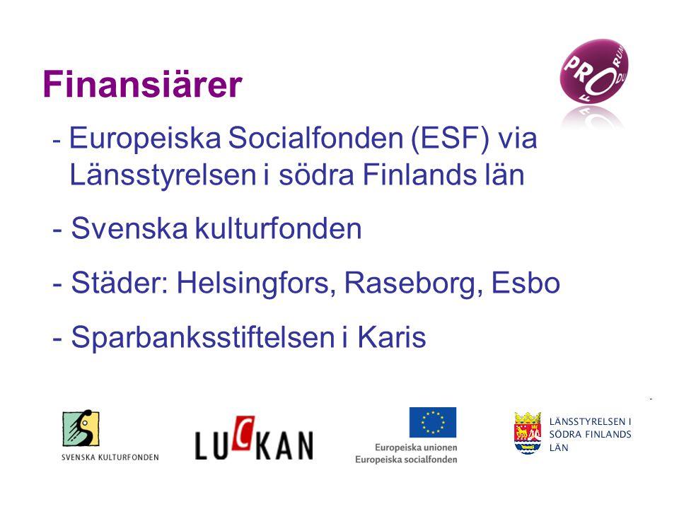 Finansiärer - Europeiska Socialfonden (ESF) via Länsstyrelsen i södra Finlands län - Svenska kulturfonden - Städer: Helsingfors, Raseborg, Esbo - Sparbanksstiftelsen i Karis