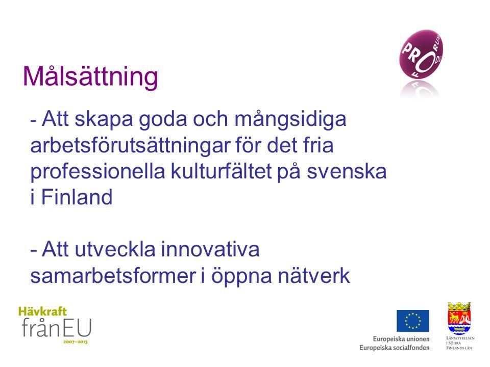 Målsättning - Att skapa goda och mångsidiga arbetsförutsättningar för det fria professionella kulturfältet på svenska i Finland - Att utveckla innovativa samarbetsformer i öppna nätverk