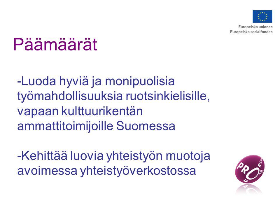 Päämäärät -Luoda hyviä ja monipuolisia työmahdollisuuksia ruotsinkielisille, vapaan kulttuurikentän ammattitoimijoille Suomessa -Kehittää luovia yhteistyön muotoja avoimessa yhteistyöverkostossa