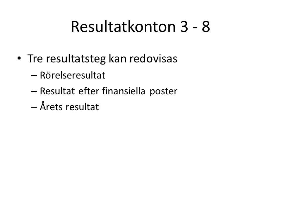 Resultatkonton 3 - 8 Tre resultatsteg kan redovisas – Rörelseresultat – Resultat efter finansiella poster – Årets resultat