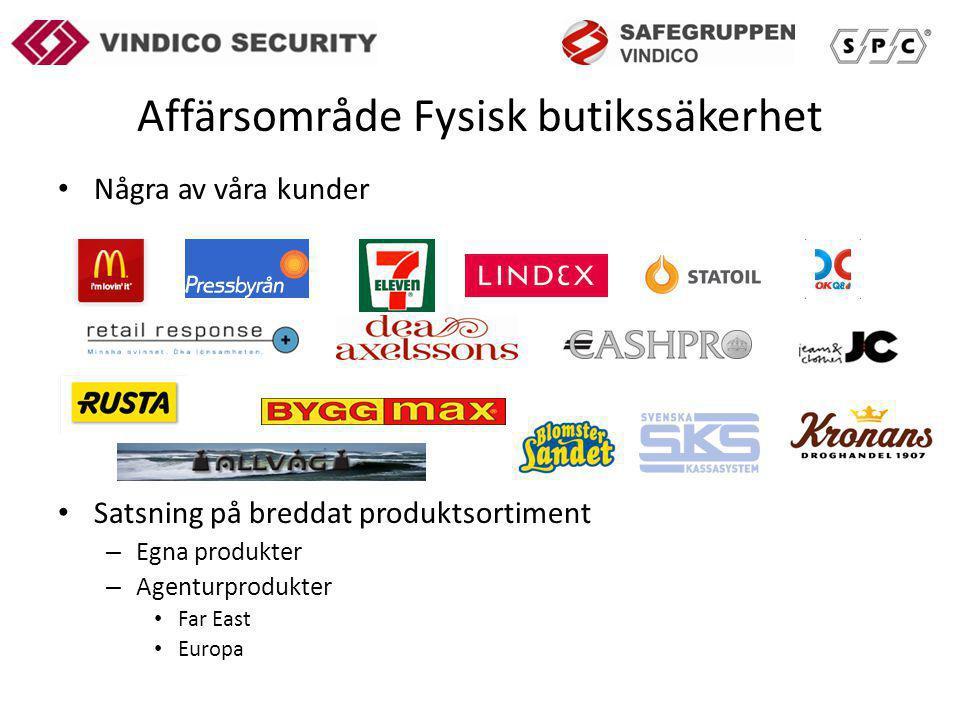 Affärsområde Fysisk butikssäkerhet Några av våra kunder Satsning på breddat produktsortiment – Egna produkter – Agenturprodukter Far East Europa