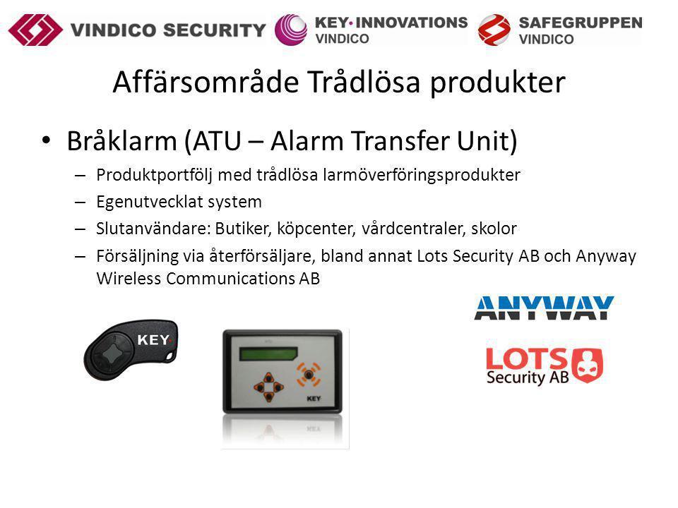 Affärsområde Trådlösa produkter Bråklarm (ATU – Alarm Transfer Unit) – Produktportfölj med trådlösa larmöverföringsprodukter – Egenutvecklat system – Slutanvändare: Butiker, köpcenter, vårdcentraler, skolor – Försäljning via återförsäljare, bland annat Lots Security AB och Anyway Wireless Communications AB