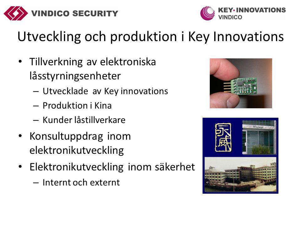 Utveckling och produktion i Key Innovations Tillverkning av elektroniska låsstyrningsenheter – Utvecklade av Key innovations – Produktion i Kina – Kunder låstillverkare Konsultuppdrag inom elektronikutveckling Elektronikutveckling inom säkerhet – Internt och externt