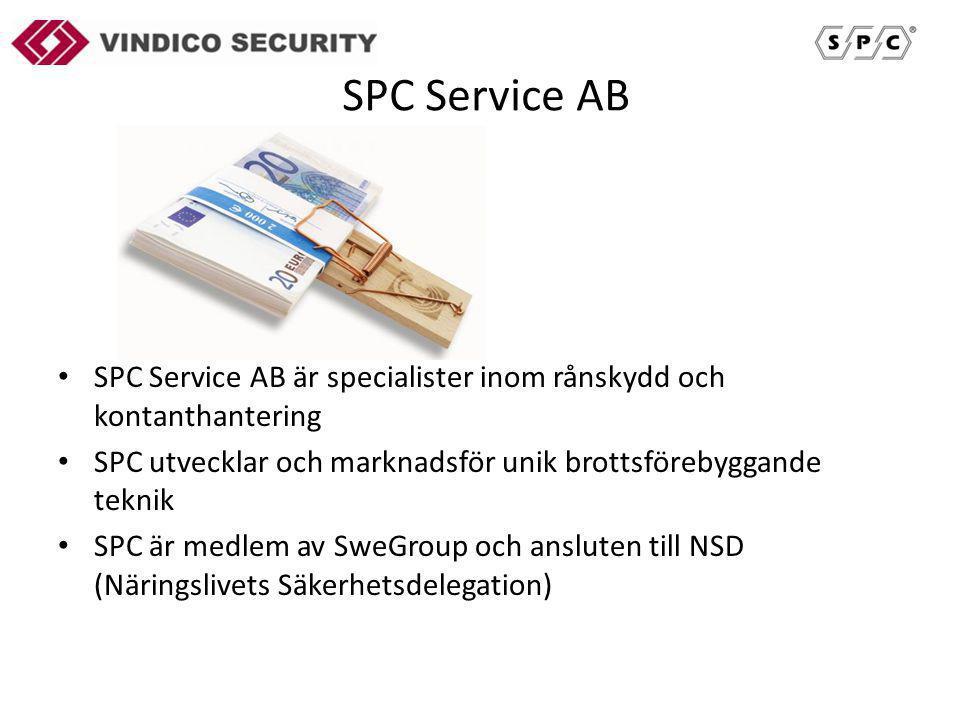 SPC Service AB SPC Service AB är specialister inom rånskydd och kontanthantering SPC utvecklar och marknadsför unik brottsförebyggande teknik SPC är medlem av SweGroup och ansluten till NSD (Näringslivets Säkerhetsdelegation)