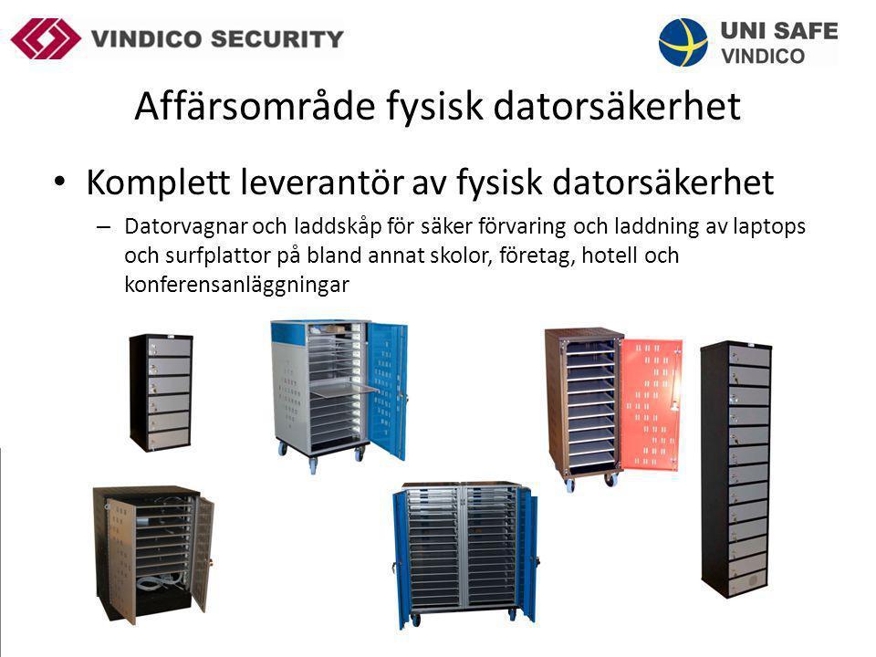 Affärsområde fysisk datorsäkerhet – Stöldskyddsgodkända justerbara säkerhetsboxar för säker förvaring av stationära datorer – Tillgreppsskydd för datorer och datortillbehör – Tillgreppskydd för Ipads – Tillverkning i egen regi i Sverige – Produkter utvecklade i dotterbolaget Uni Safe – Agenturprodukter – Hotellsäkerhetsskåp med laddningsmöjlighet – Säkerhetsväskor för surfplattor och laptops med laddningsmöjligheter