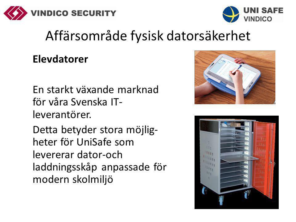 Affärsområde fysisk datorsäkerhet Elevdatorer En starkt växande marknad för våra Svenska IT- leverantörer. Detta betyder stora möjlig- heter för UniSa
