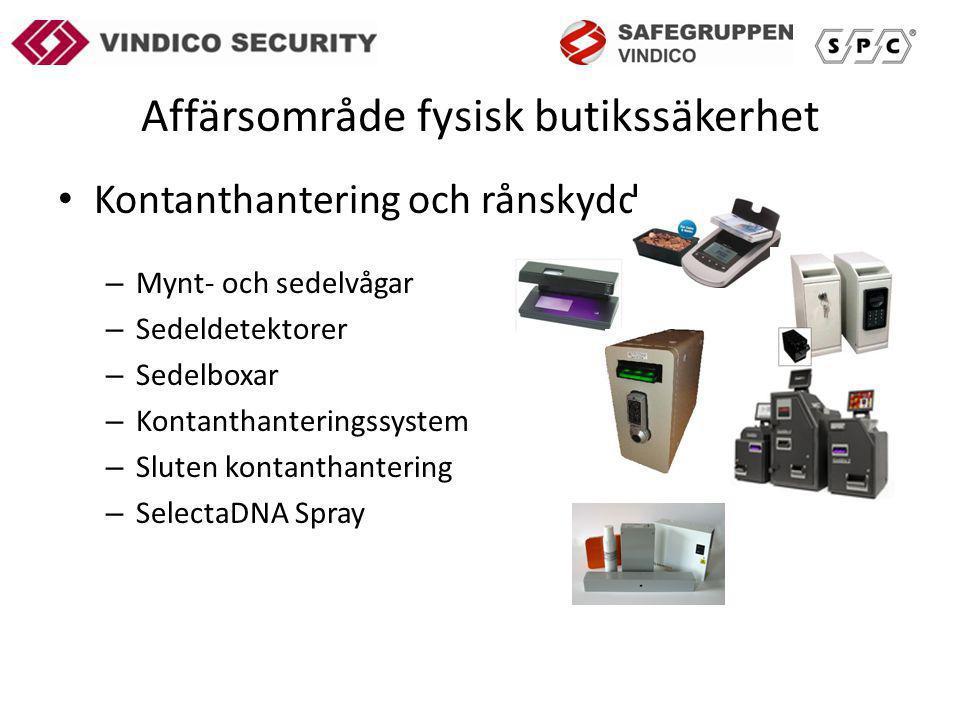 Affärsområde fysisk butikssäkerhet Kontanthantering och rånskydd – Mynt- och sedelvågar – Sedeldetektorer – Sedelboxar – Kontanthanteringssystem – Sluten kontanthantering – SelectaDNA Spray
