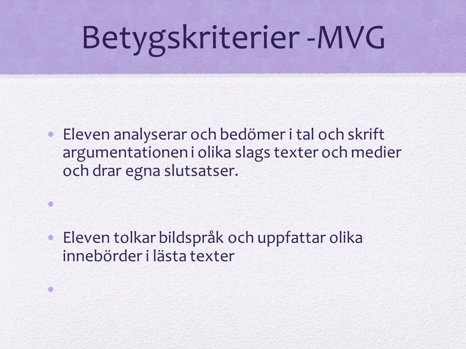 Betygskriterier -MVG Eleven analyserar och bedömer i tal och skrift argumentationen i olika slags texter och medier och drar egna slutsatser. Eleven t