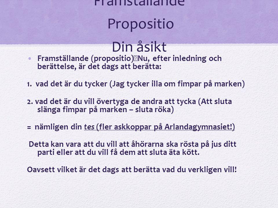 Framställande Propositio Din åsikt Framställande (propositio) Nu, efter inledning och berättelse, är det dags att berätta: 1. vad det är du tycker (Ja