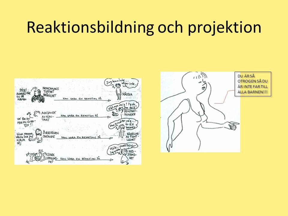 Reaktionsbildning och projektion DU ÄR SÅ OTROGEN SÅ DU ÄR INTE FAR TILL ALLA BARNEN!!!