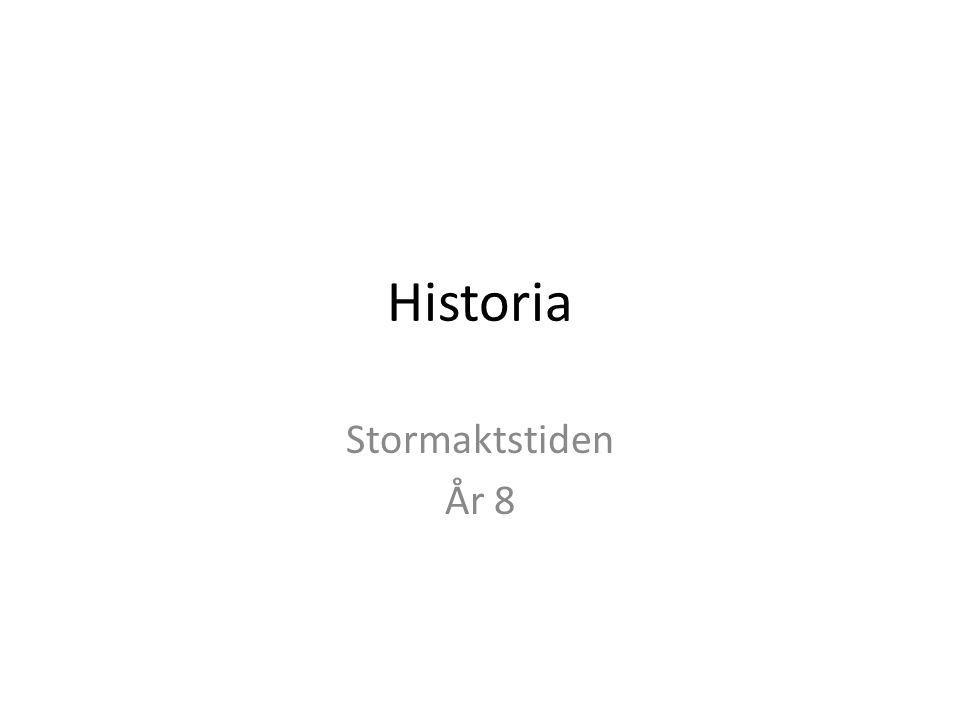 Mål Du ska känna till händelser och skeenden i den svenska historien som har varit viktiga för att forma det land och samhälle som vi lever i idag.