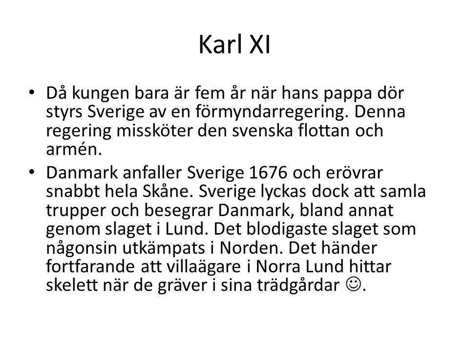 Karl XI Då kungen bara är fem år när hans pappa dör styrs Sverige av en förmyndarregering. Denna regering missköter den svenska flottan och armén. Dan