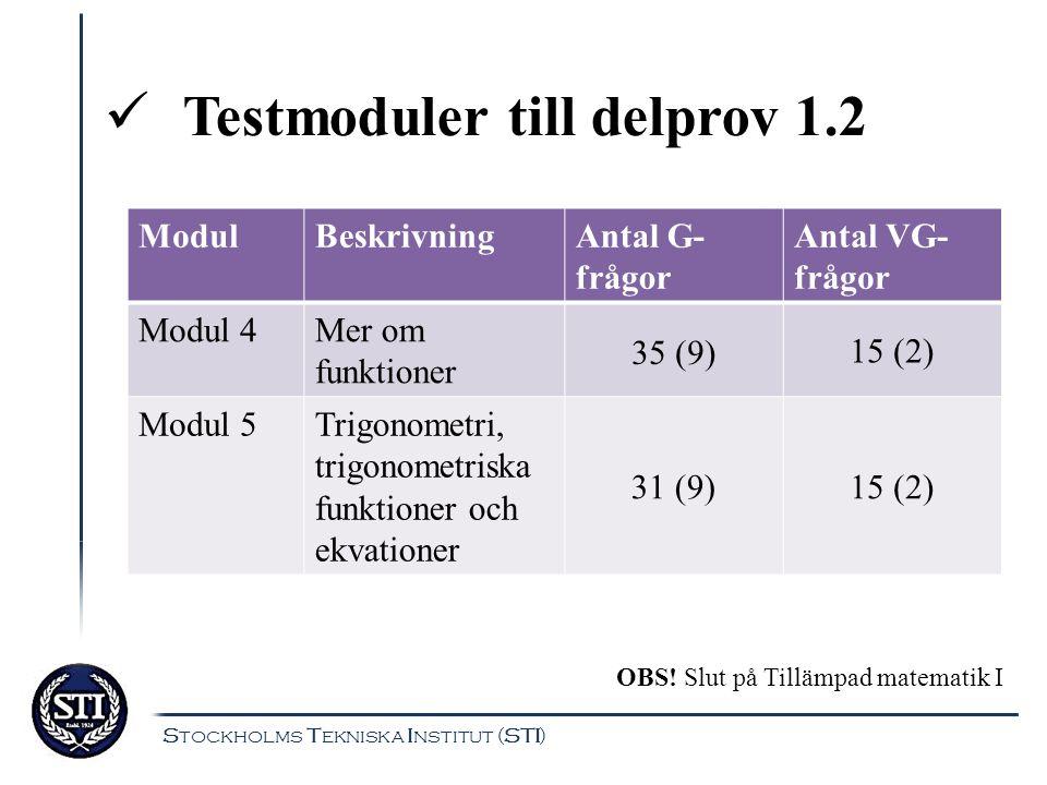 Testmoduler till delprov 1.2 ModulBeskrivningAntal G- frågor Antal VG- frågor Modul 4Mer om funktioner 35 (9) 15 (2) Modul 5Trigonometri, trigonometri
