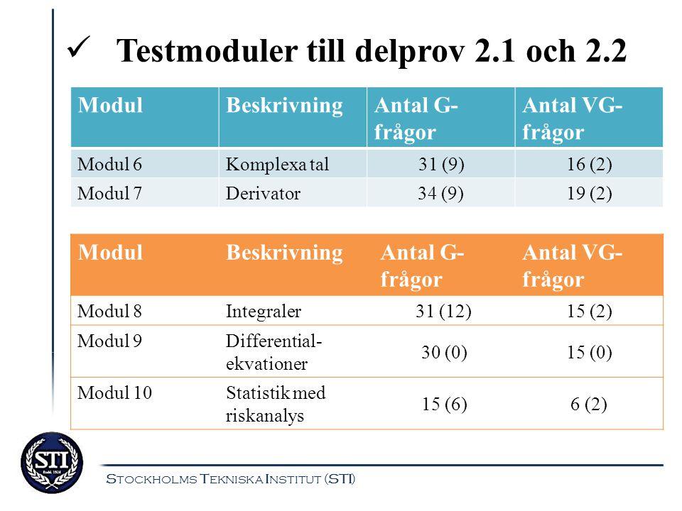 Testmoduler till delprov 2.1 och 2.2 ModulBeskrivningAntal G- frågor Antal VG- frågor Modul 6Komplexa tal 31 (9) 16 (2) Modul 7Derivator34 (9)19 (2) M