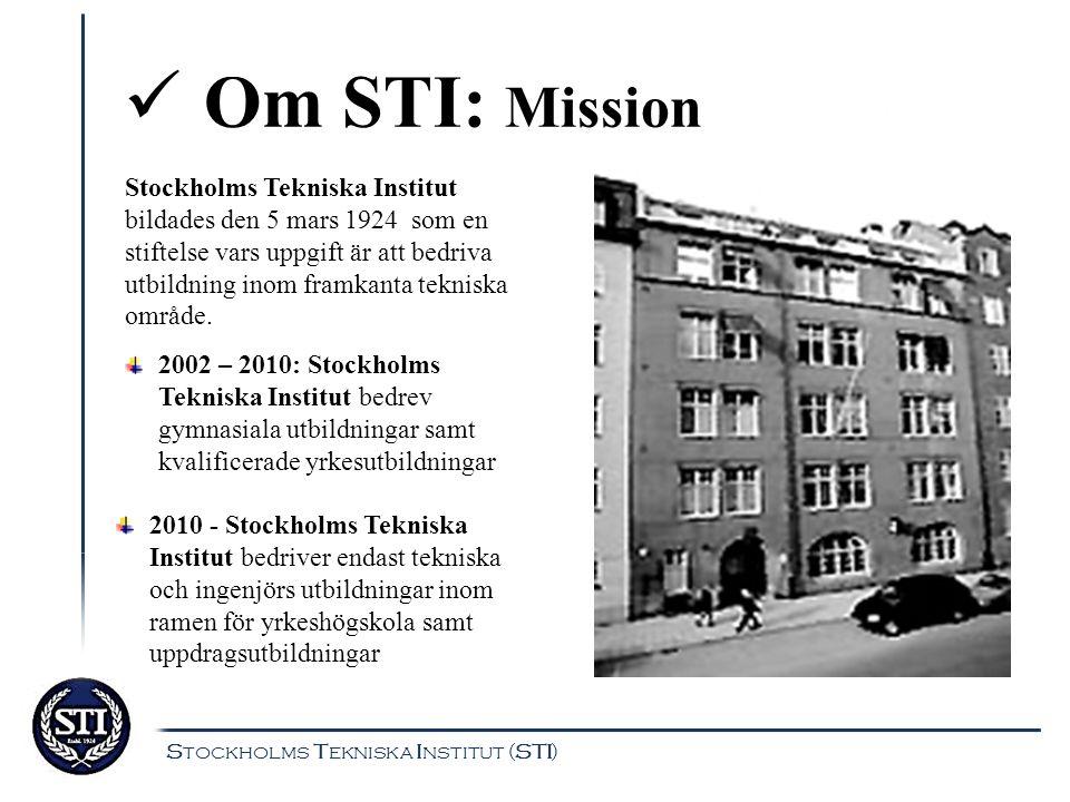 Om STI: Utbildningar Program Bygg Elinstallation Drift-Kraft-Värme Järnväg ElkraftKylteknik IT Stockholms Tekniska Institut (STI)