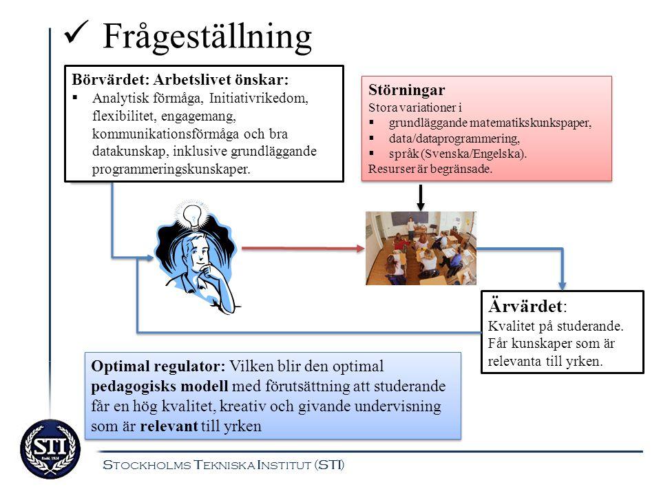 Återkoppling i vår undervisningsmodell Stockholms Tekniska Institut (STI) Traditionella pedagogiska modeller Föreläsningar; övningar; dataövningar och räknestuga (Office Hours)  Flera komponenter i vår utbildningsmodell bidrar till olika former av återkoppling