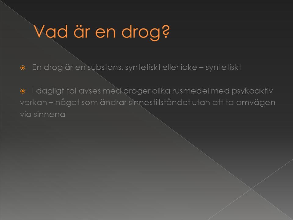  En drog är en substans, syntetiskt eller icke – syntetiskt  I dagligt tal avses med droger olika rusmedel med psykoaktiv verkan – något som ändrar sinnestillståndet utan att ta omvägen via sinnena