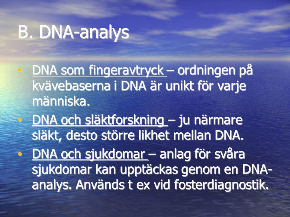 B. DNA-analys DNA som fingeravtryck – ordningen på kvävebaserna i DNA är unikt för varje människa. DNA och släktforskning – ju närmare släkt, desto st