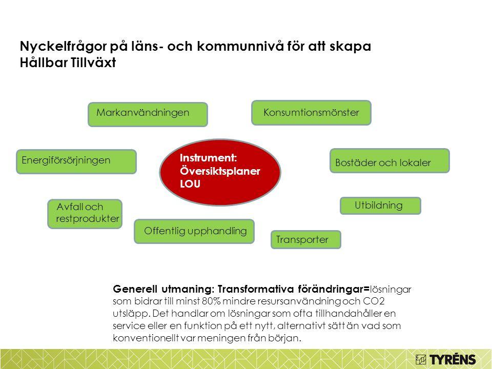 Nyckelfrågor på läns- och kommunnivå för att skapa Hållbar Tillväxt Generell utmaning: Transformativa förändringar= lösningar som bidrar till minst 80