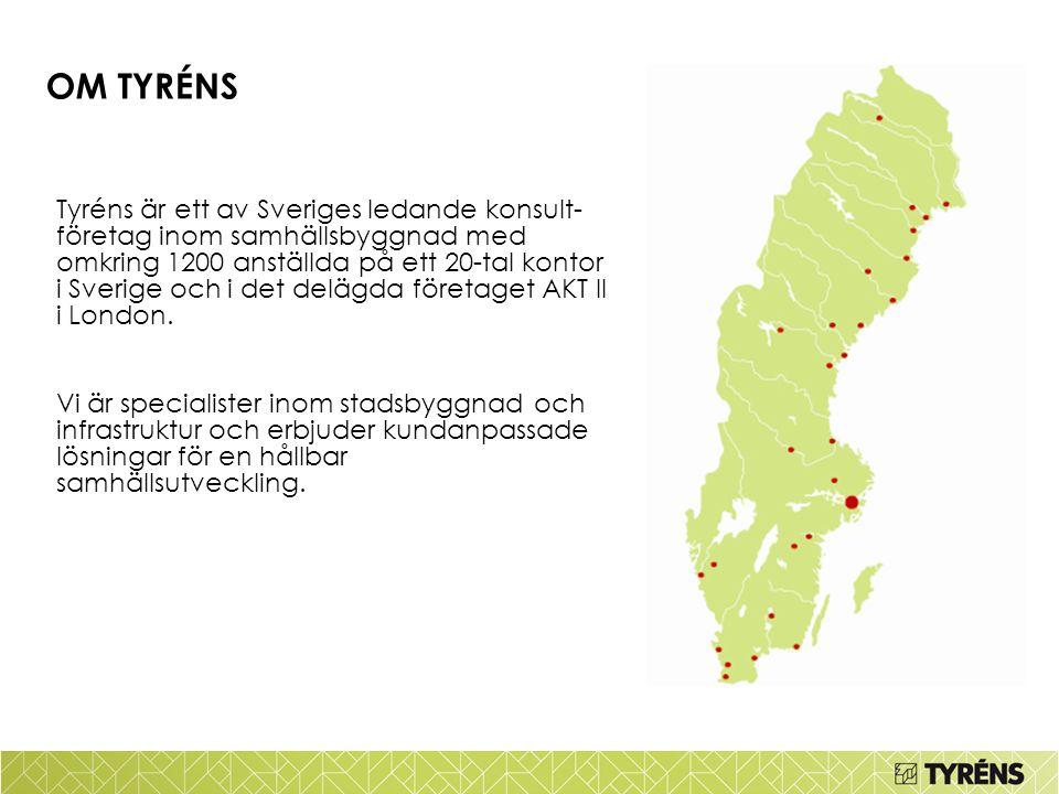 Tyréns är ett av Sveriges ledande konsult- företag inom samhällsbyggnad med omkring 1200 anställda på ett 20-tal kontor i Sverige och i det delägda fö