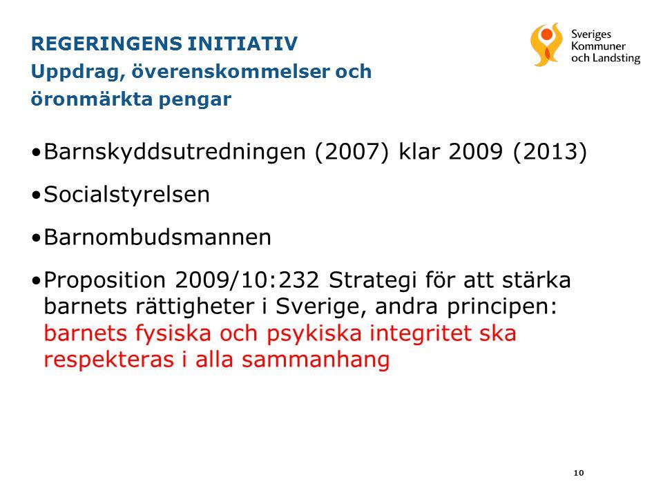 REGERINGENS INITIATIV Uppdrag, överenskommelser och öronmärkta pengar Barnskyddsutredningen (2007) klar 2009 (2013) Socialstyrelsen Barnombudsmannen P