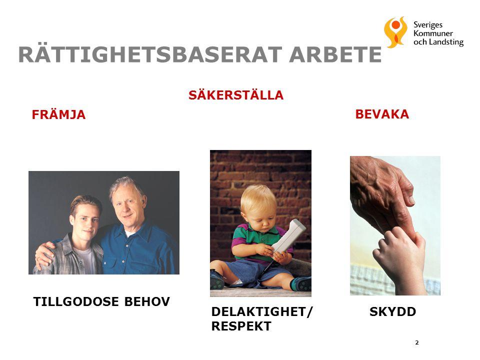 RÄTTIGHETSBASERAT ARBETE TILLGODOSE BEHOV DELAKTIGHET/ RESPEKT SKYDD FRÄMJA SÄKERSTÄLLA BEVAKA 2