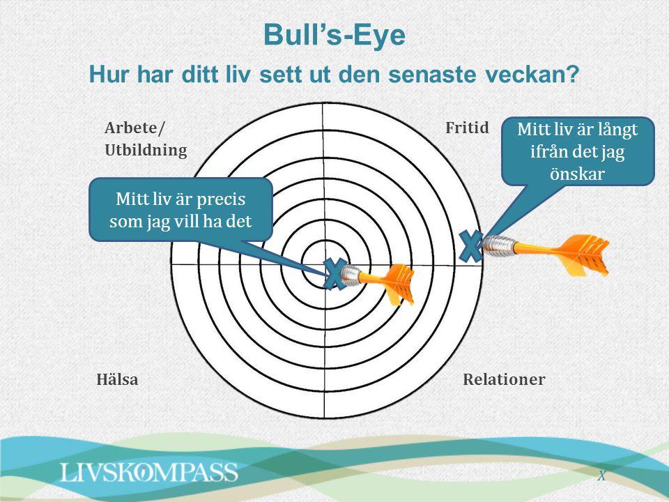 Bull's-Eye Hur har ditt liv sett ut den senaste veckan? X Mitt liv är precis som jag vill ha det Mitt liv är långt ifrån det jag önskar Arbete/ Utbild