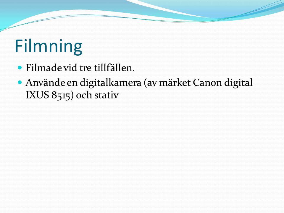 Filmning Filmade vid tre tillfällen. Använde en digitalkamera (av märket Canon digital IXUS 8515) och stativ
