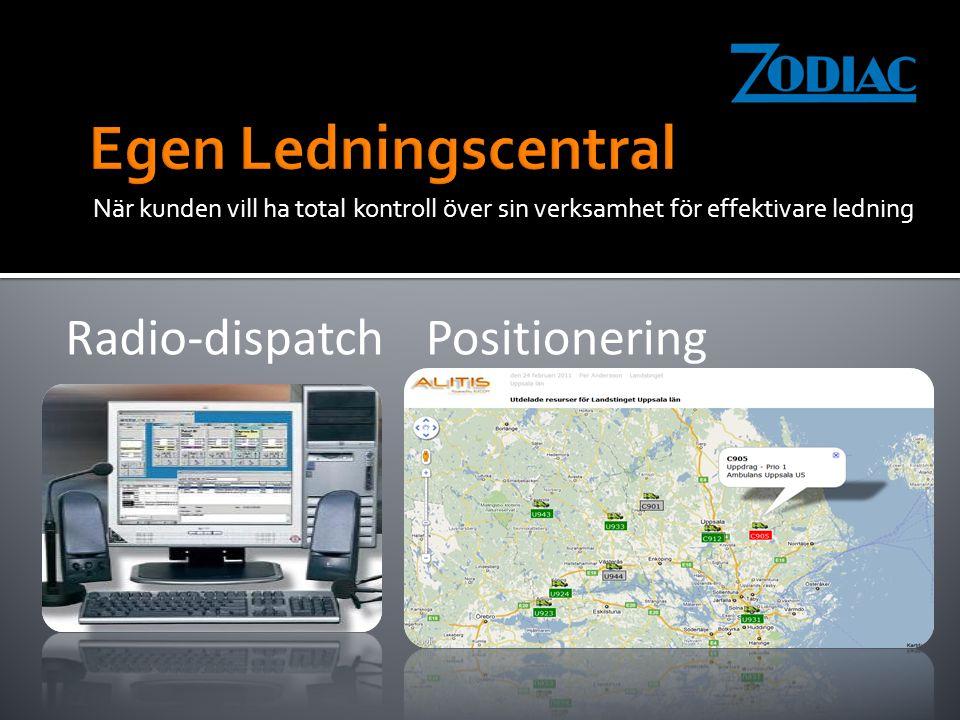 När kunden vill ha total kontroll över sin verksamhet för effektivare ledning Radio-dispatch Positionering