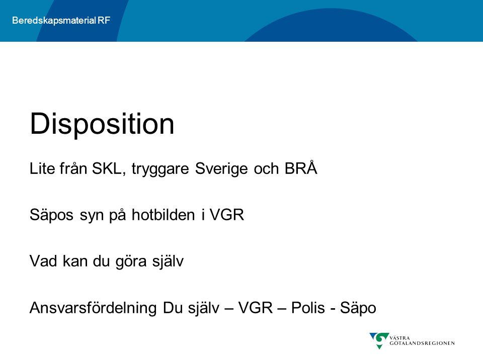 Beredskapsmaterial RF Lite från SKL, tryggare Sverige och BRÅ Säpos syn på hotbilden i VGR Vad kan du göra själv Ansvarsfördelning Du själv – VGR – Po
