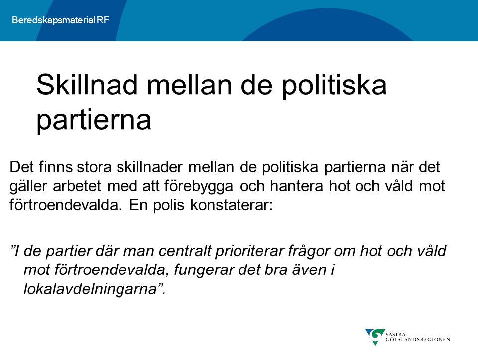 Beredskapsmaterial RF Det finns stora skillnader mellan de politiska partierna när det gäller arbetet med att förebygga och hantera hot och våld mot f