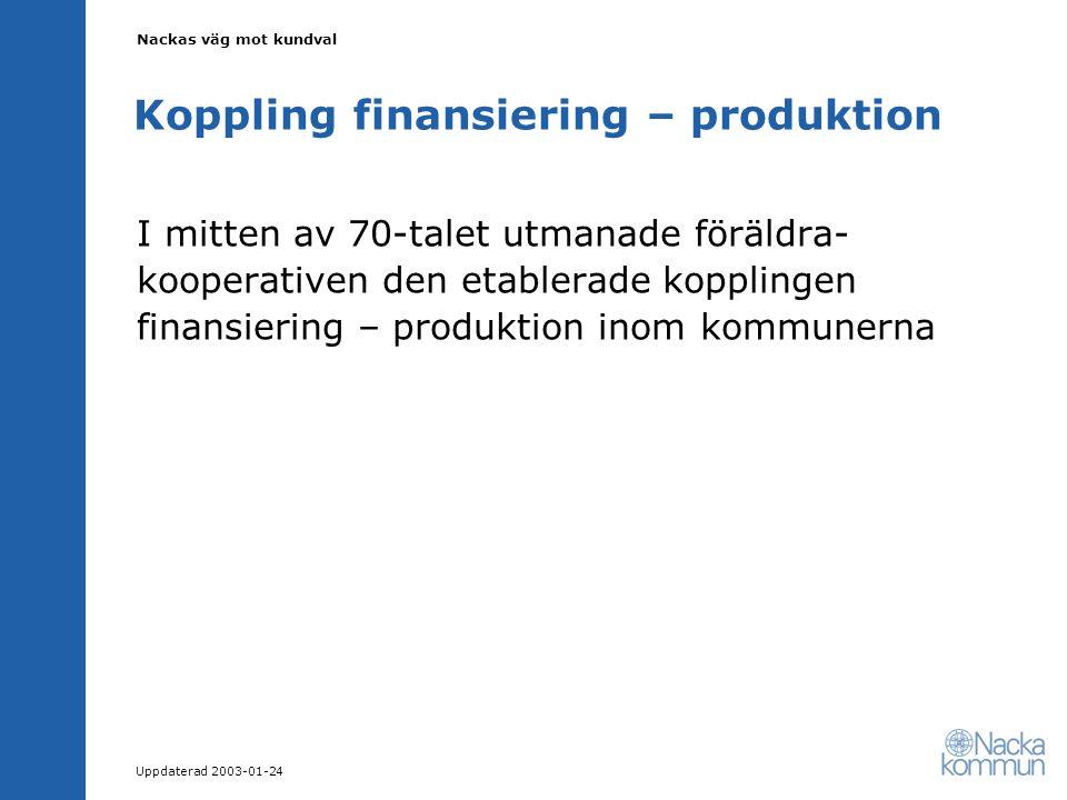 Nackas väg mot kundval Uppdaterad 2003-01-24 Koppling finansiering – produktion I mitten av 70-talet utmanade föräldra- kooperativen den etablerade kopplingen finansiering – produktion inom kommunerna