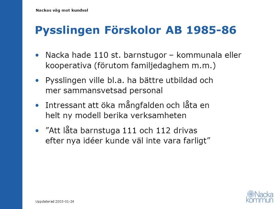 Nackas väg mot kundval Uppdaterad 2003-01-24 Pysslingen Förskolor AB 1985-86 Nacka hade 110 st.