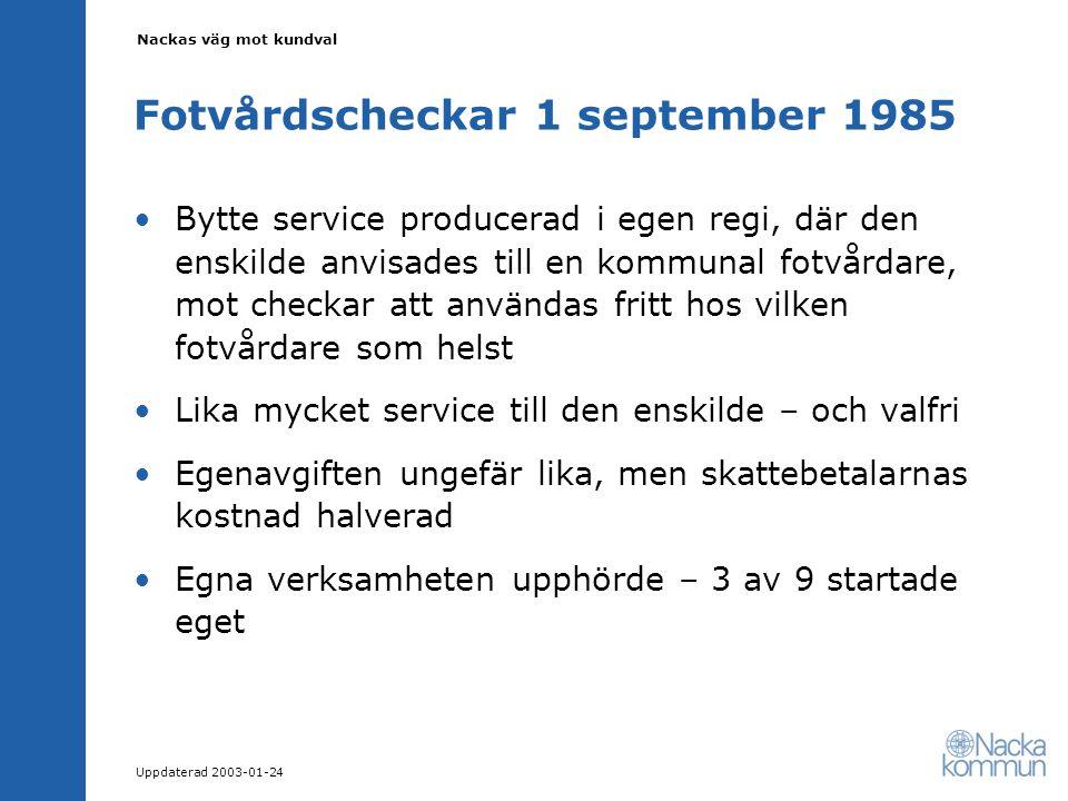 Nackas väg mot kundval Uppdaterad 2003-01-24 Fotvårdscheckar 1 september 1985 Bytte service producerad i egen regi, där den enskilde anvisades till en kommunal fotvårdare, mot checkar att användas fritt hos vilken fotvårdare som helst Lika mycket service till den enskilde – och valfri Egenavgiften ungefär lika, men skattebetalarnas kostnad halverad Egna verksamheten upphörde – 3 av 9 startade eget