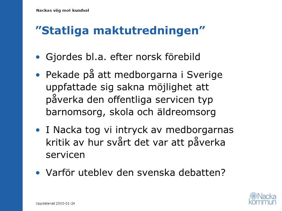 Nackas väg mot kundval Uppdaterad 2003-01-24 Statliga maktutredningen Gjordes bl.a.