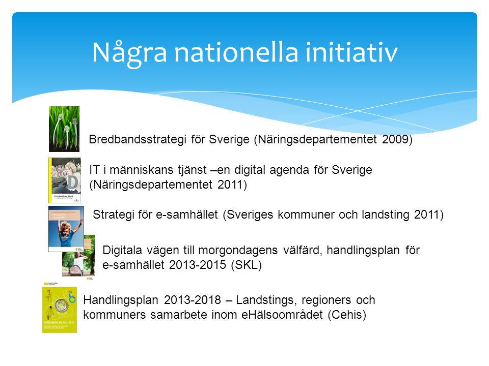 Några nationella initiativ IT i människans tjänst –en digital agenda för Sverige (Näringsdepartementet 2011) Strategi för e-samhället (Sveriges kommuner och landsting 2011) Digitala vägen till morgondagens välfärd, handlingsplan för e-samhället 2013-2015 (SKL) Handlingsplan 2013-2018 – Landstings, regioners och kommuners samarbete inom eHälsoområdet (Cehis) Bredbandsstrategi för Sverige (Näringsdepartementet 2009)