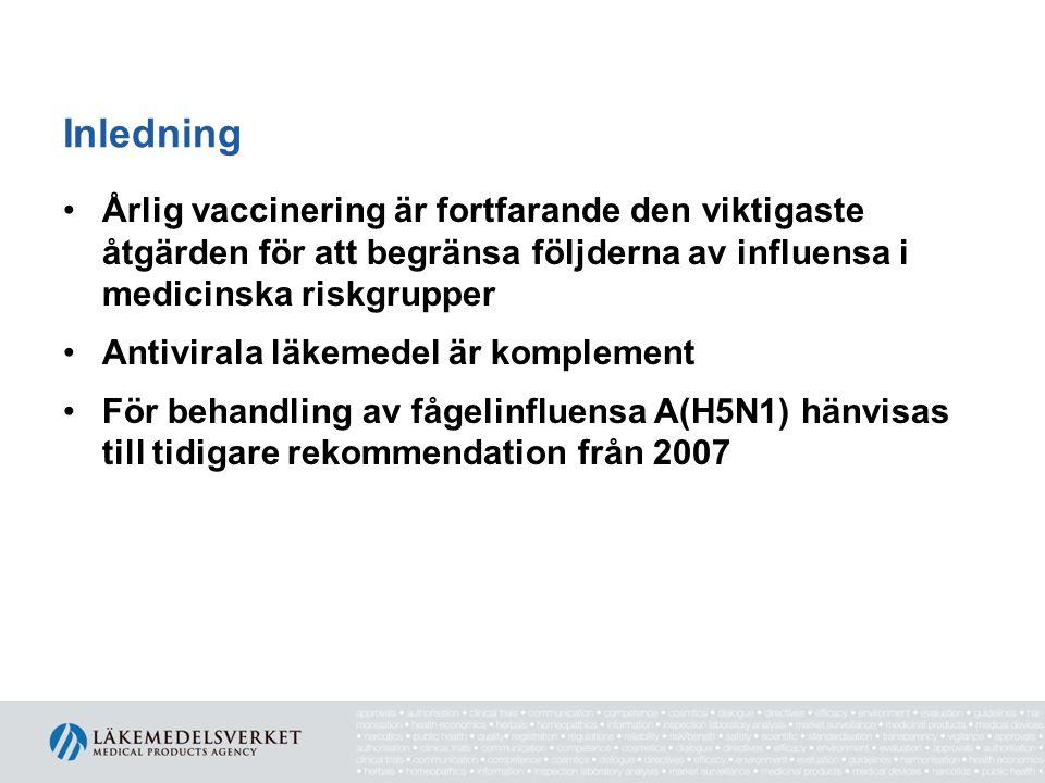 Nytt innehåll I Nya riskgrupper för influensa A(H1N1)2009 Ny indikation för oseltamivir (Tamiflu) vid behandling av barn yngre än ett år med A(H1N1)2009-influensa Nya intravenösa beredningar av neuraminidas- hämmare för behandling av livshotande influensa Riktlinjer för användningen av neuraminidas- hämmare hos gravida kvinnor