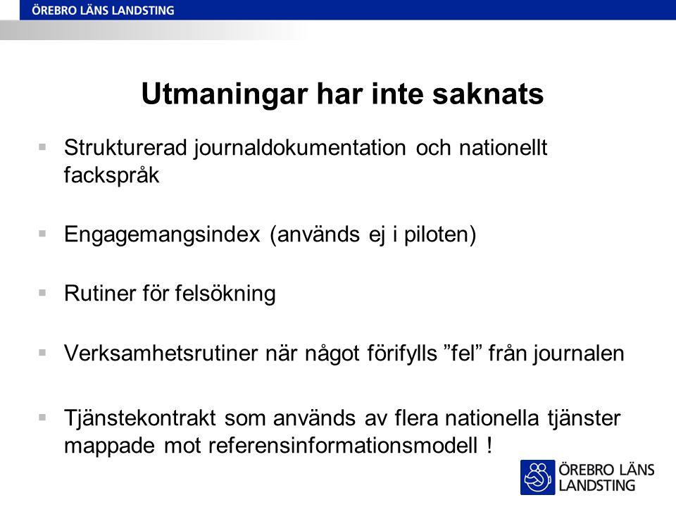 Utmaningar har inte saknats  Strukturerad journaldokumentation och nationellt fackspråk  Engagemangsindex (används ej i piloten)  Rutiner för felsö