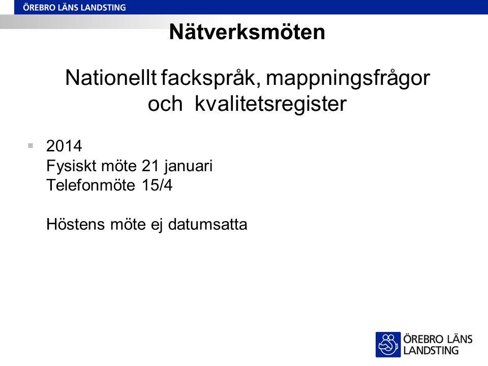 Nätverksmöten Nationellt fackspråk, mappningsfrågor och kvalitetsregister  2014 Fysiskt möte 21 januari Telefonmöte 15/4 Höstens möte ej datumsatta