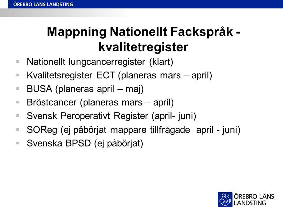 Mappning Nationellt Fackspråk - kvalitetregister  Nationellt lungcancerregister (klart)  Kvalitetsregister ECT (planeras mars – april)  BUSA (plane